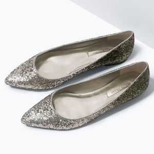 Pointed Toe Ombré Glitter Flats